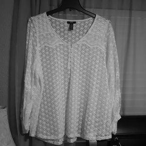 Alfani white lace blouse